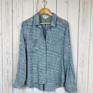 Cloth & Stone Plaid Button-Down Blouse Size LG